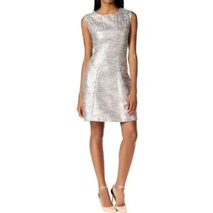 Tahari ASL metallic Tweed cocktail mini dress 6